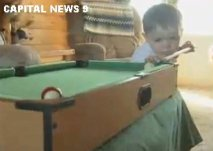 2 year old pool player