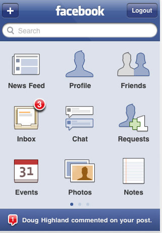 facebook like icon. your Facebook iPhone App.