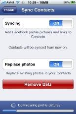 facebook iphone sync