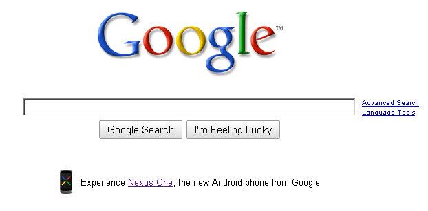 google nexus one phone from google homepage