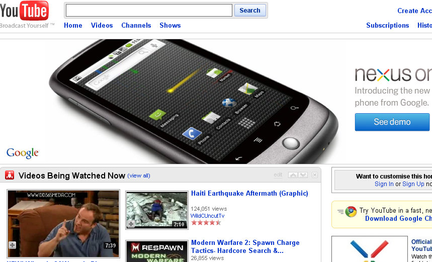 google phone nexus one youtube