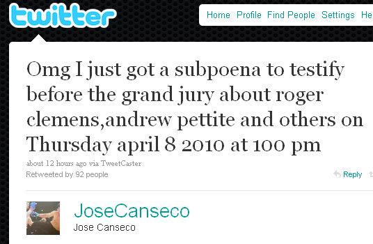 canseco subpoena twitter