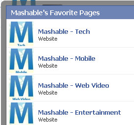 mashable facebook fan page network