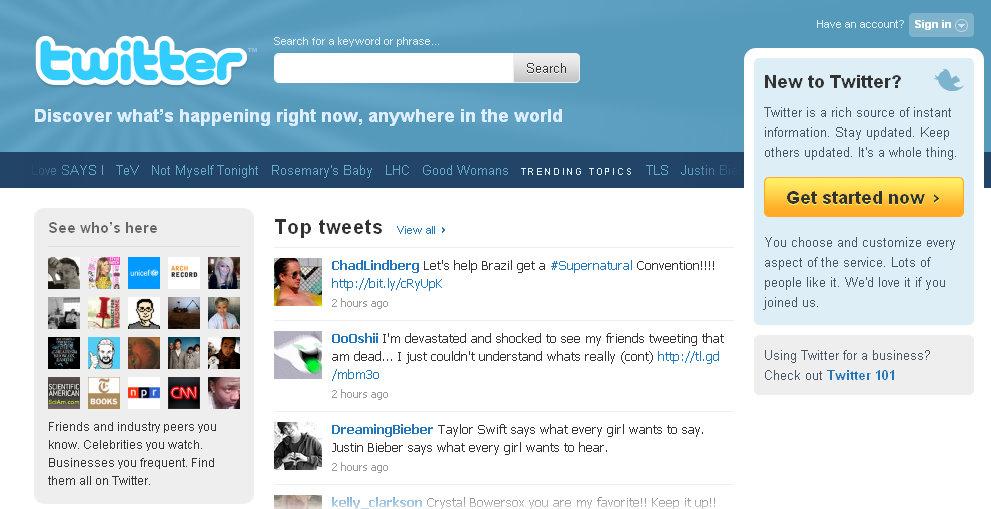 twitter new homepage
