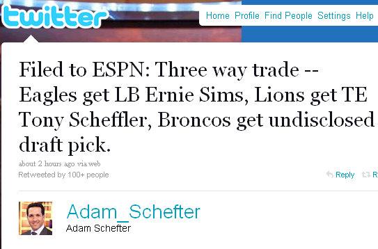 ernie sims twitter update trade