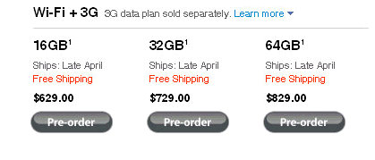 ipad 3g data plan cost
