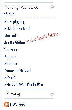 justin bieber twitter trending list
