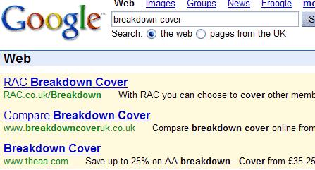 google adwords yellow blue background