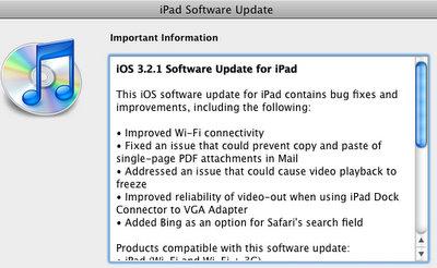 ipad ios 3 2 1 update