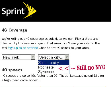 sprint 4g coverage new york city