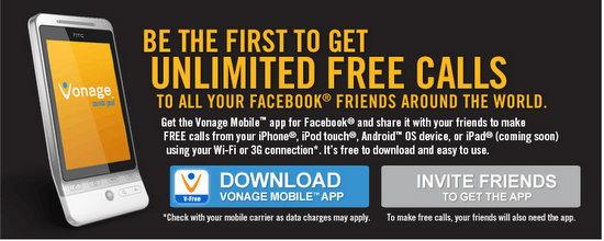 vonage facebook free call app