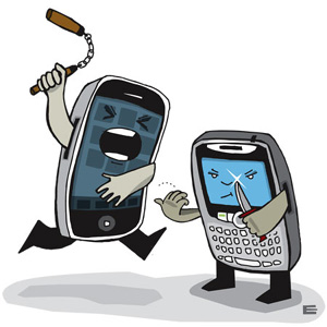 blackberry losing iphone android phones