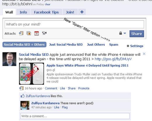 facebook fan page admins spam filtering