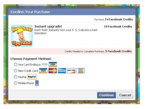 facebook payspan facebook credits