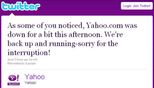 yahoo server hangup down
