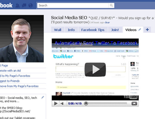 add youtube video to facebook fan page fbml