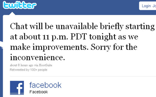 facebook chat outage