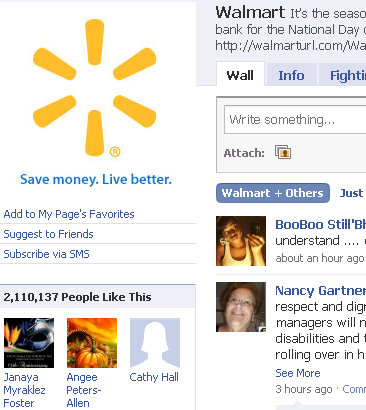 walmart facebook fan page