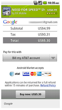 android market apps carrier billing