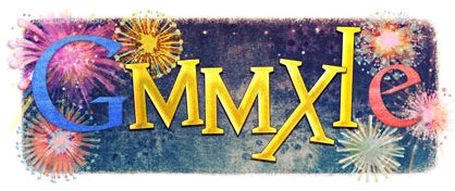 google doodle logo new years 2011 roman numerals
