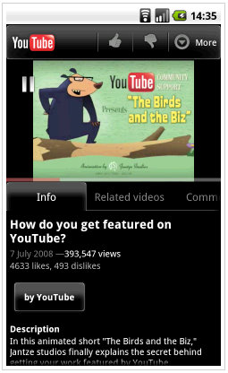 youtube android app 2.1