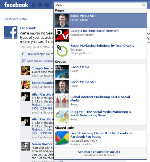 facebook search results grouped by type