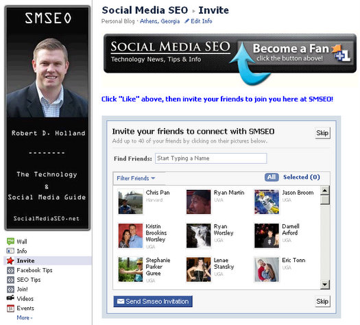 facebook invite app facebook fan pages