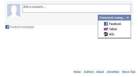 facebook login options comments