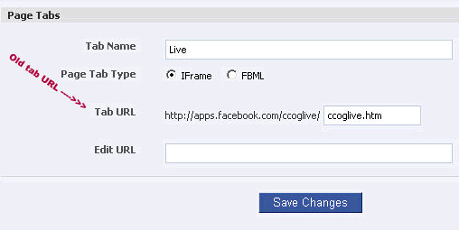 old facebook fan page iframe tab url