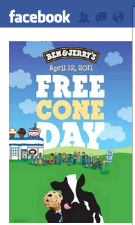 ben and jerrys free cone da