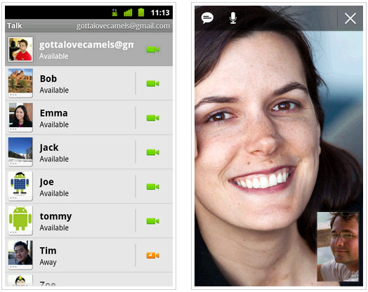 google android video chat