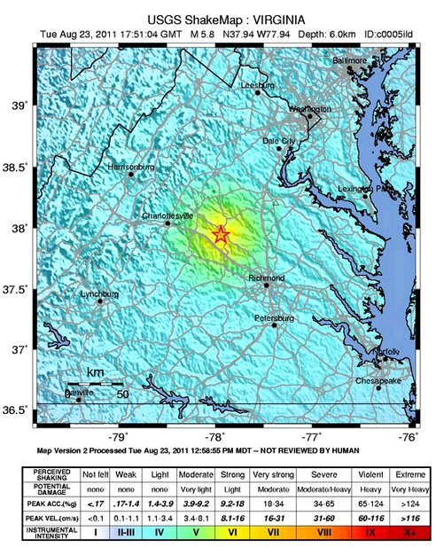 earthquake va virginia earthquake map