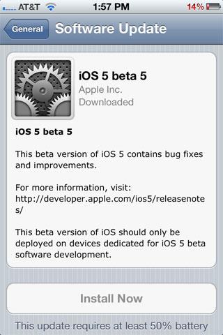 ios 5 beta 5 update