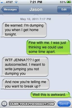 dump text autocorrect mistake