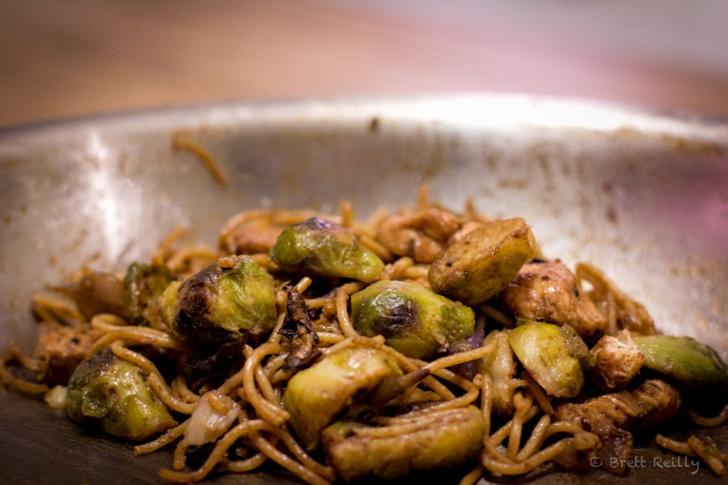 balsamic chicken pasta with brussels sprouts and leaks