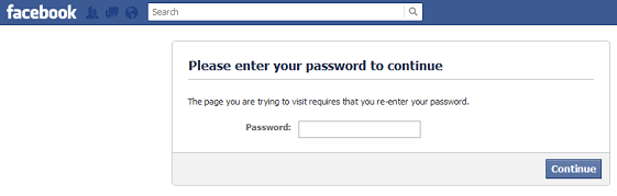 facebook ask for password