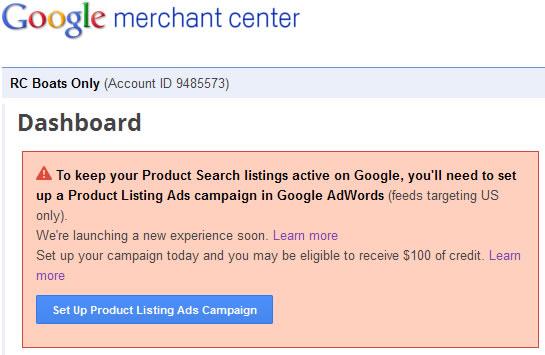 google commerce adwords linked