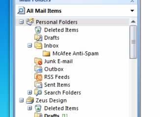 mcafee anti spam folder outlook