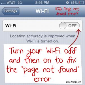 ios 6 page not found error fix