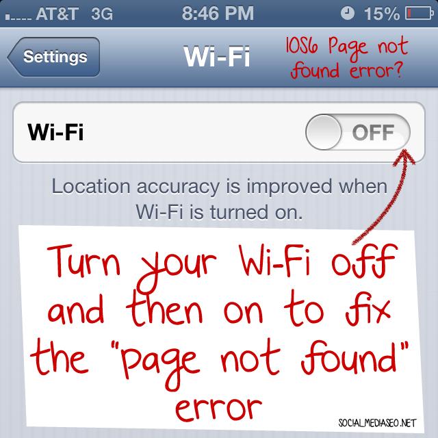 ios 6 page not found error