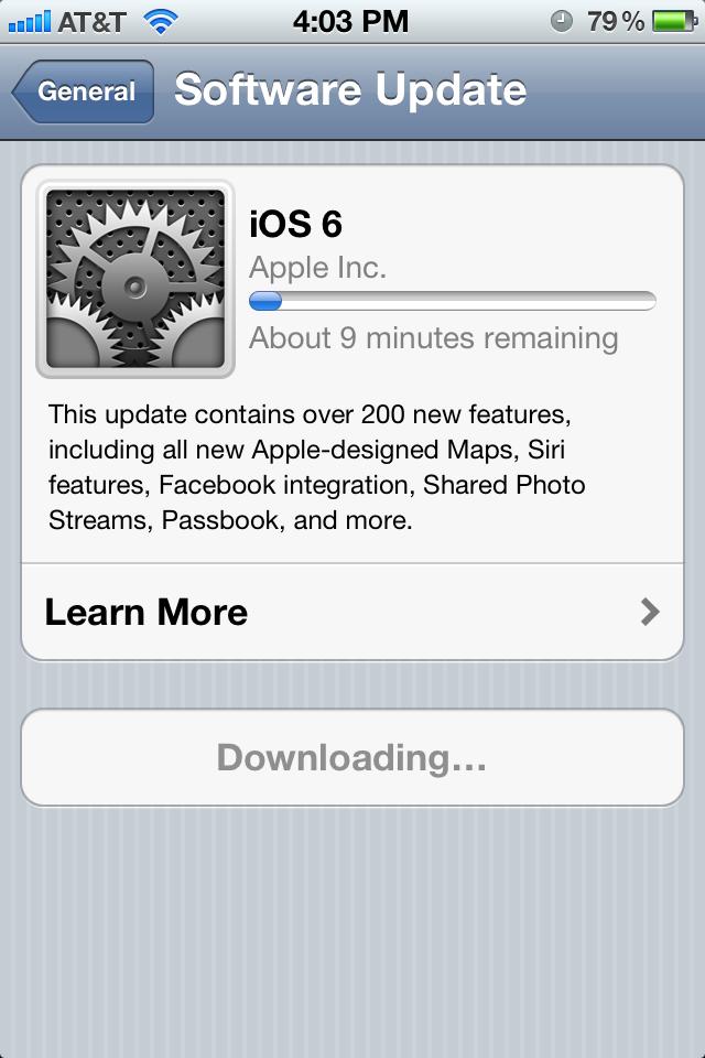 ios 6 upgrade errors