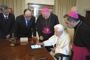 The Pope presumably playing with his Twitter account.