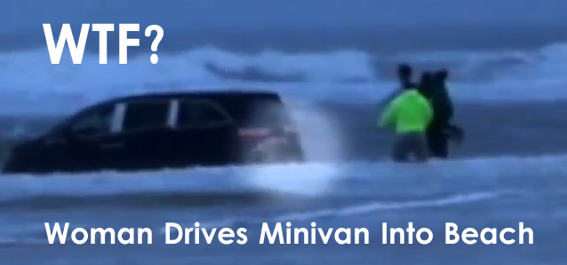 minivan drives into beach