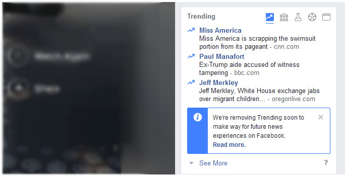 Facebook trendin news removed