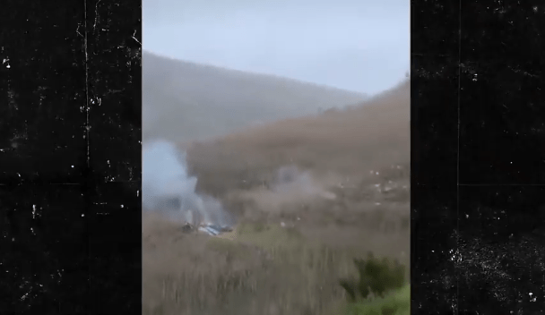 kobe bryant helicopter seen on fire in mountains
