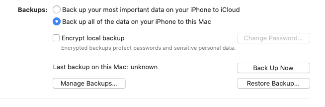 back up all of the data on your iPhone to this Mac