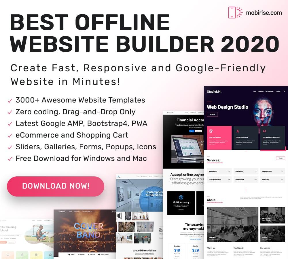 20 web design tools mobirise